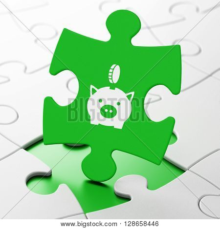 Banking concept: Money Box With Coin on Green puzzle pieces background, 3D rendering