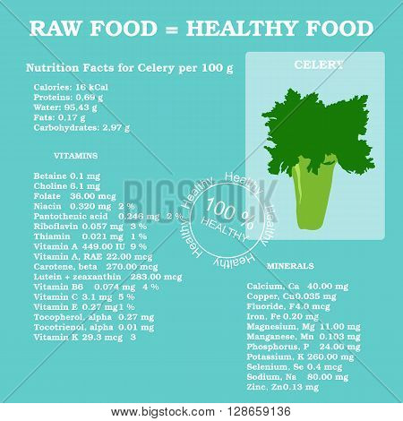 Nutrition facts for celery in flat style