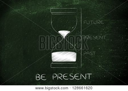 Hourglass With Past, Present And Future Captions, Be Present