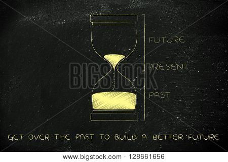 Hourglass With Past, Present And Future, Get Over Past Better Future