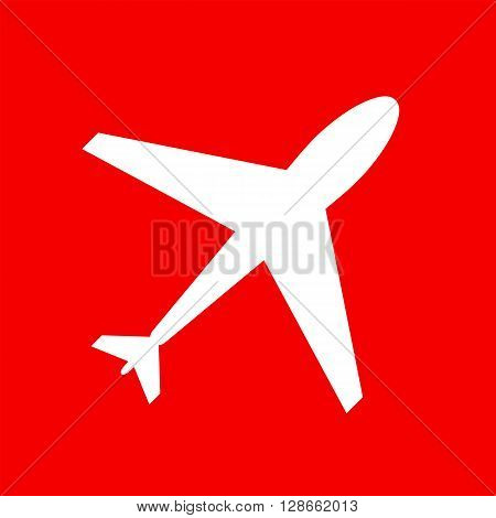 Web icon of airplane plane. Airport icon airplane shape. Flat airplane. White airplane icon shape label symbol. Graphic element vector. Vector design element for logo web and print.