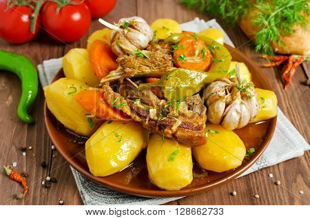 Slow-cooked stew with tender lamb meat potatoes and vegetables. Dumlama - oriental soup with vegetables and lamb poster