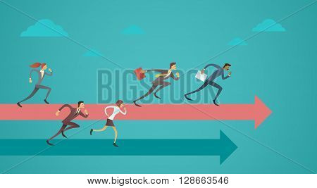 Business People Group Run Team Leader On Arrow Competition Concept Flat Vector Illustration