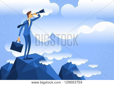 Cartoon Businessman Looking Through Telescope Standing on Top Mountain Flat Vector Illustration