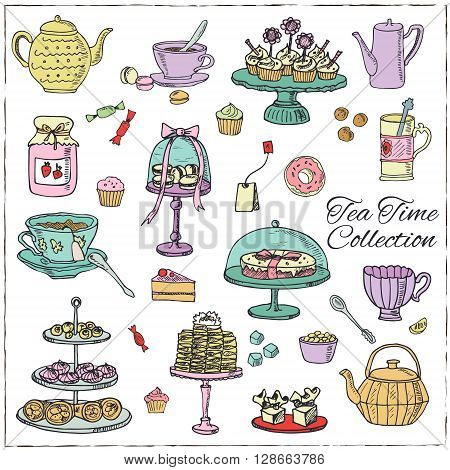 Tea time  doodle set. Sketch. Tea bag, mugs, cupcake, macaroon and muffin. Hand drawn Tea time collection. Vector illustration  for design menus, recipes and packages product.