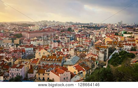 The terracotta roofs in the city of lisbon