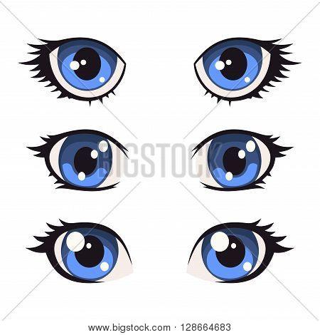 Blue Cartoon Anime Eyes Set. Vector illustration