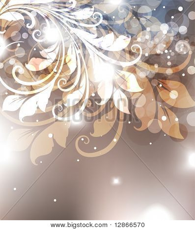 Abstract Christmas card with white snowflakes and flowers