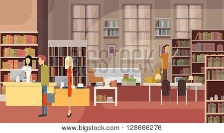 Book Shop Interior Bookstore Customers Sales Woman Cash Desk Flat Vector Illustration