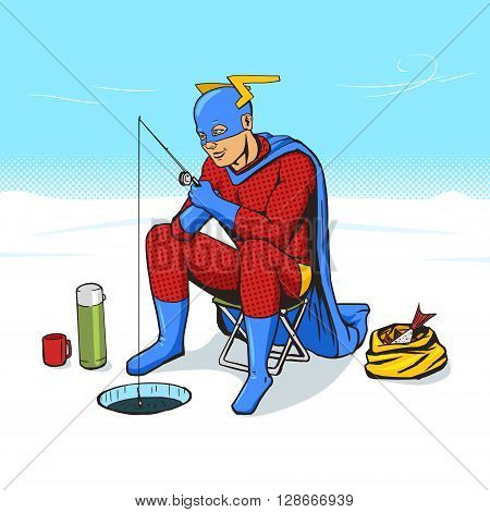 Superhero on ice fishing cartoon pop art vector illustration. Human comic book vintage retro style.