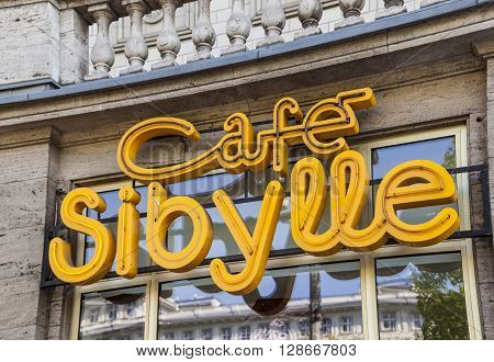 Neon Sign At The Cafe Sybille.