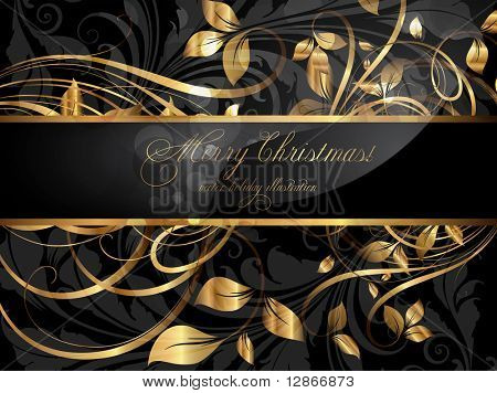 Vintage dark golden card with seamless ornament at background