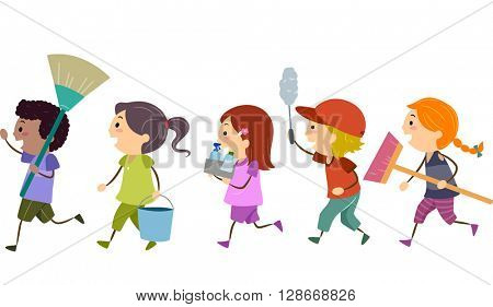 Stickman Illustration of Kids Carrying Cleaning Tools
