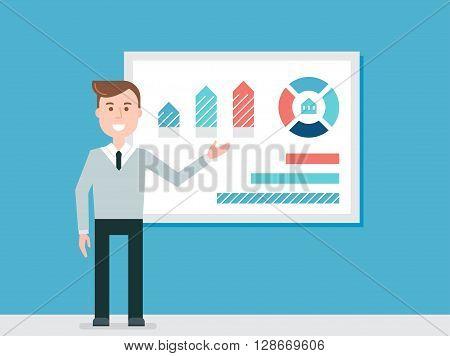 Speaker Giving Presentation Using Diagrams Charts Vector
