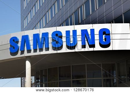 Amsterdam Netherlands-may 5 2016: samsung office letters on a building The Samsung Group is one of the largest electronics companies in the world