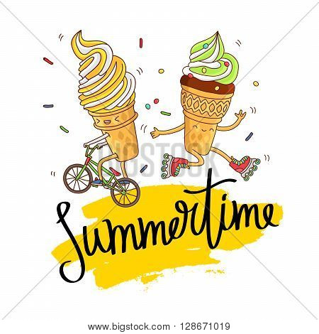 Illustration of two cute and fun ice cream on a bicycle and roller skates. Inscription summertime on a smear of yellow ink. Vector illustration on white background. Excellent print on a T-shirt. Fashionable calligraphy.