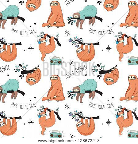 Cute hand drawn sloths, funny vector Cute hand drawn sloths illustrations, seamless pattern