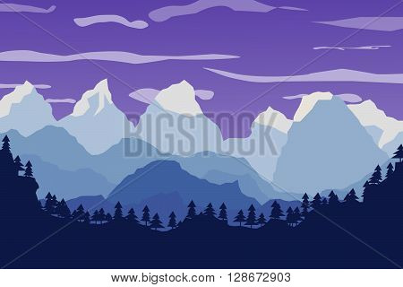 mountains landscape forest and sky. Flat vector landscape. The horizon of mountain peaks. Natural landscape illustration poster