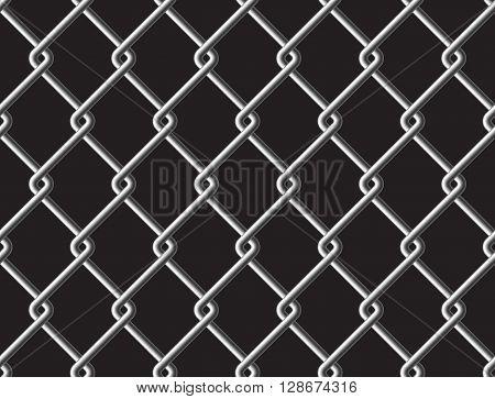 Steel mesh metalic fance black seamless background. Vector illustration. EPS 10.