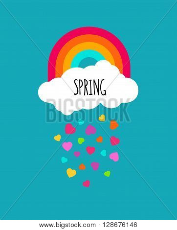 Abstract spring vector background. Raining hearts cloud and rainbow on blue background. Spring word isolated on cloud icon shape. For greeting cardsinvitations wallpaper. Modern art decoration.