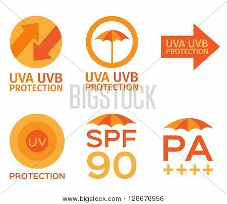 uva, uvb, spf logo on white background