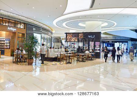 HONG KONG - APRIL 23, 2015: inside of the PopCorn Shopping Mall. PopCorn is a shopping mall atop Tsueng Kwan O MTR station