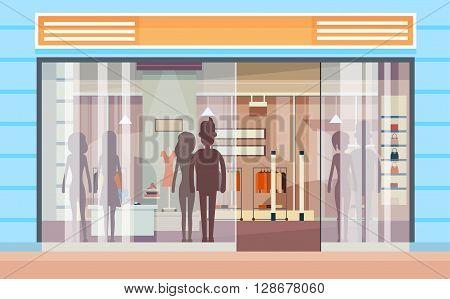 Shopping Window Modern Luxury Shop Exterior Flat Design Vector Illustration