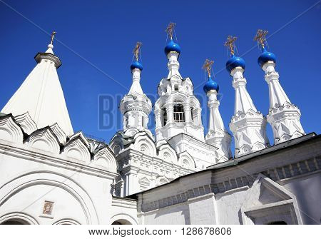 Old Church with blue domes in the center of Moscow