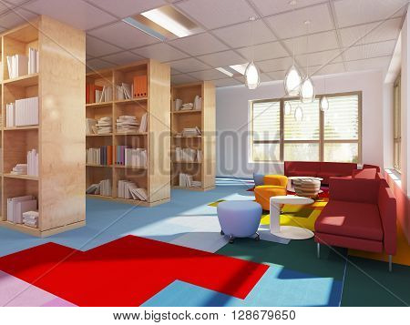 Colorful library in kitch styled school. Red sofas multicolored carpet. 3D render