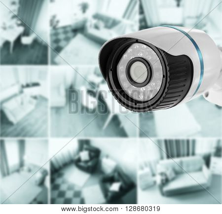 Security CCTV camera in home. Home security system concept poster