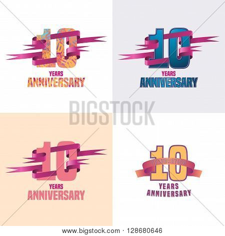 10 years anniversary vector icon set. 10th celebration design collection