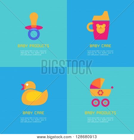 Set of vector illustrations of rubber duck soother sippy cup carriage. Baby products concept