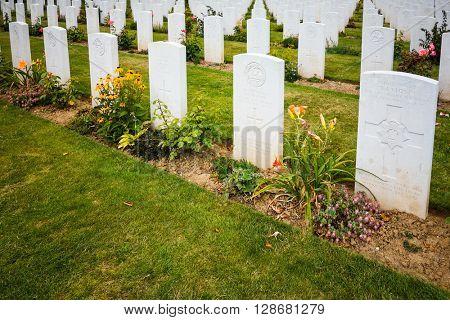 Omaha Beach,Normandy, France.- August 9: American War Cemetery on August 9, 2013. American War Cemetery at Omaha Beach, Normandy (Colleville-sur-Mer ) France.