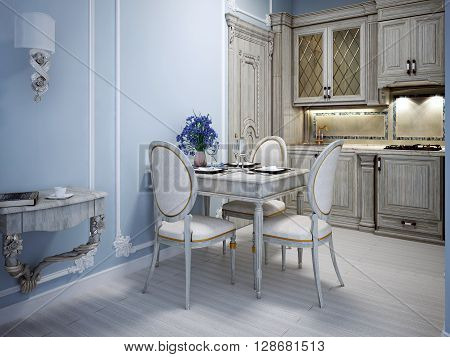 Avant garde kitchen interior in private house with blue molding walls. 3D render