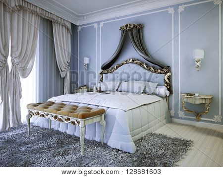 Expensive double bed with upholstery bedhead in bedroom with blue walls. Small sconces on both sides of bed. 3D render