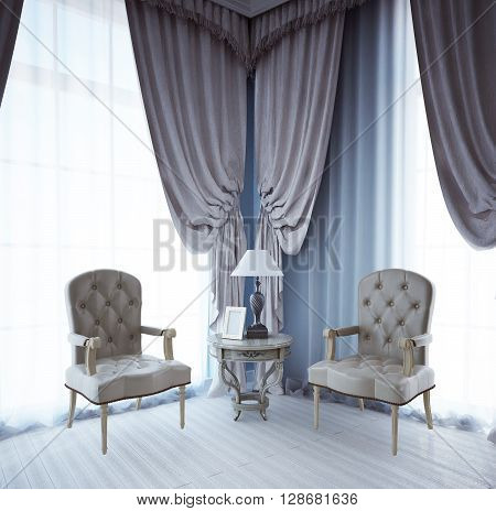 Relax area near window in avant garde style. Two leather chairs and cofee table. 3D render