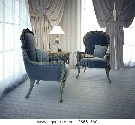 Sitting place for negotiation in private house. Neoclassic style. 3D render