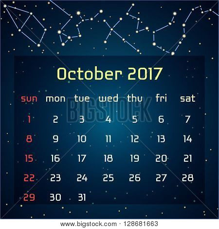 Vector calendar for 2017 in the space style. Calendar for the month of October with the image of the constellations in the night starry sky. Elements for creative design ideas of your calendar