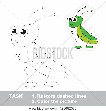 Cute grasshopper in vector to be traced. Restore dashed line and color the picture. Trace game for children.