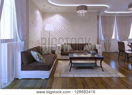 Spacy apartments in modern style. Luxury furniture polished flooring soft leather sofa in brown color. Inspiration for using neon lights in interior. 3D render