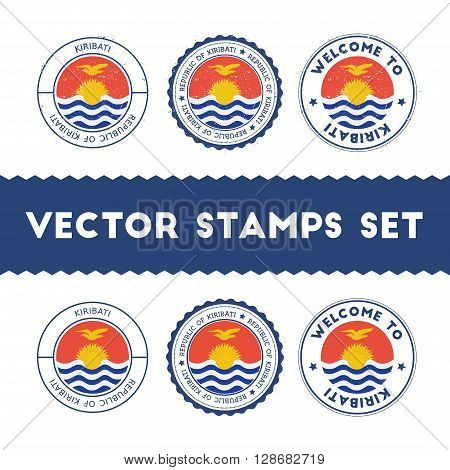 I-kiribati Flag Rubber Stamps Set. National Flags Grunge Stamps. Country Round Badges Collection.