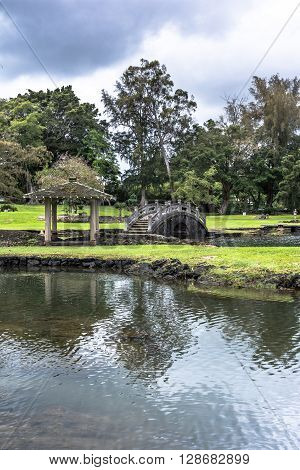 Hilo,Big Island,Hawaii,USA - June 4, 2014 : View of the pond in the Japanese Garden