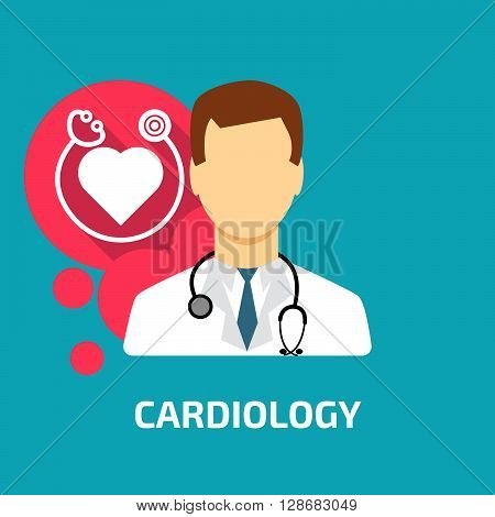 cardiologist icon flat style. Stock vector. Vector illustration.