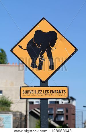 Elephant danger yellow roadsign in Nantes (France)
