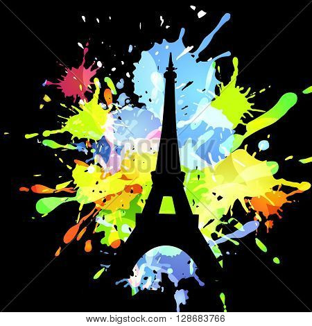 Abstract inkblot colorfull background on black with spluches and silhouette  of eiffel tower