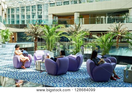 HONG KONG - JUNE 04, 2015: Regal Airport Hotel interior. Regal Airport Hotel directly linked to Hong Kong International Airport