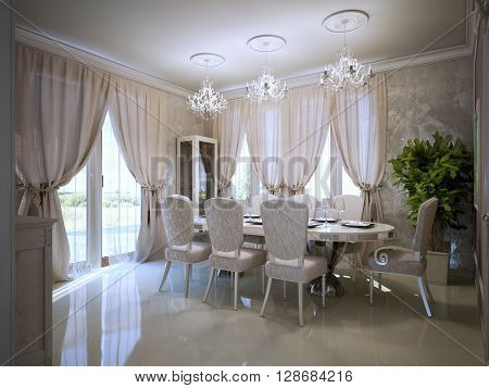 Dining room in avant garde design. Served dining table. Bright room with polished concrete flooring and plaster textured walls. 3D render