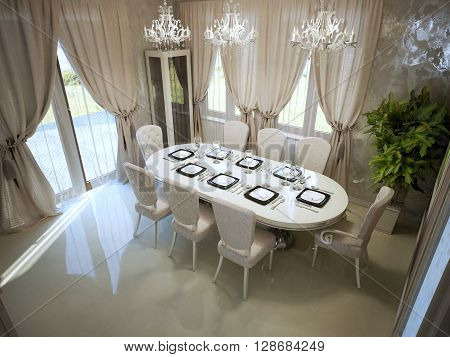 Large dining table in spacy room modern style trend. White furniture cream curtains panoramic view. 3D render
