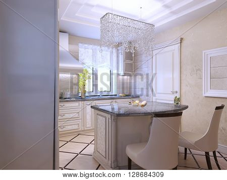 Interior design of a luxury modern kitchen. Shiny countertop of bar. 3D render