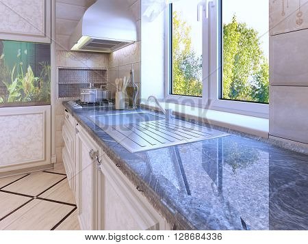 Modern kitchen design. Ecru colored cabinets. Wall hood. Glossy countertop. 3D render